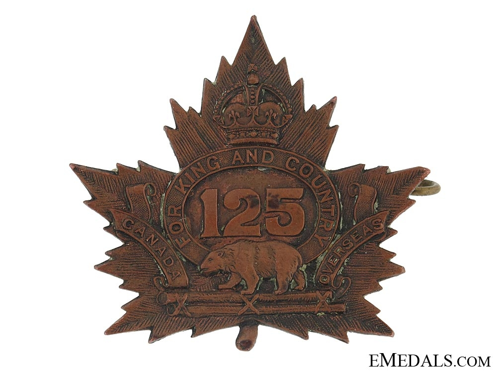 eMedals-WWI 125th Infantry Battalion Cap Badge CEF