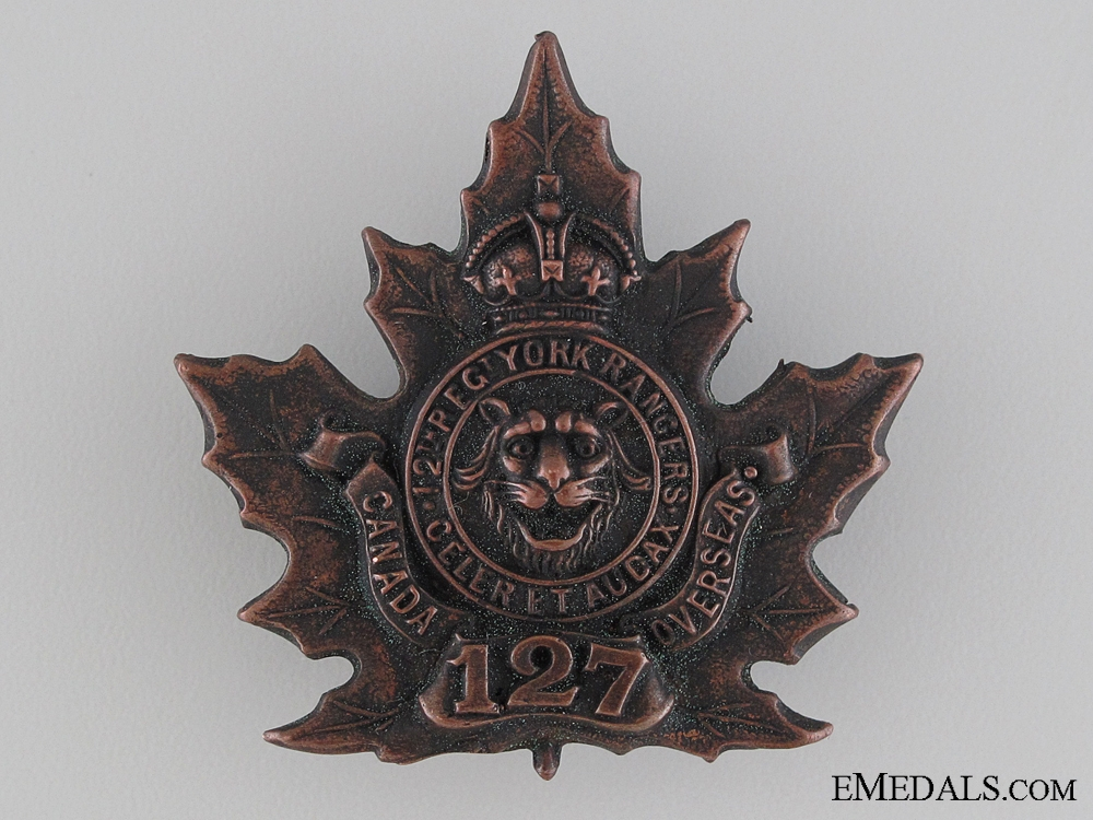 eMedals-WWI 127th Infantry Battalion 12th York Rangers Cap Badge CEF