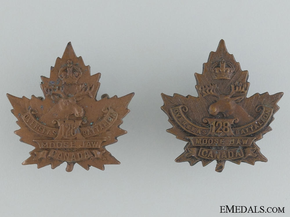 eMedals-WWI 128th Infantry Battalion Collar  Badge Pair CEF