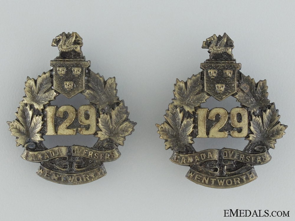eMedals-WWI 129th Infantry Battalion Collar Badge Pair CEF
