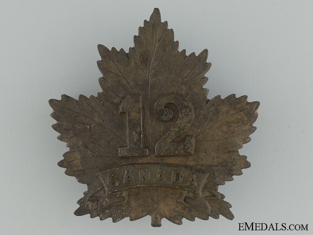 eMedals-WWI 12th Infantry Battalion Cap Badge CEF