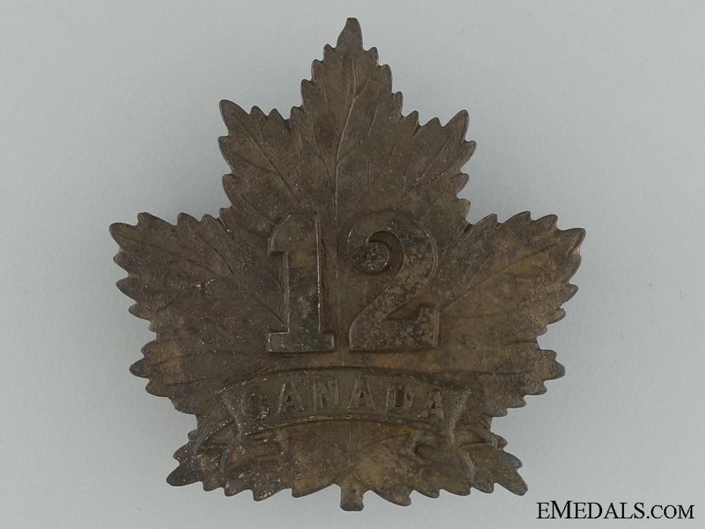 eMedals-WWI 12th Infantry Battalion Cap Badge CEF