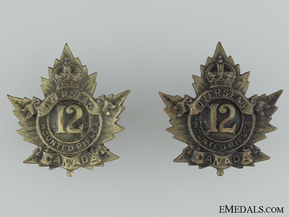 eMedals-WWI 12th Mounted Rifle Battalion Collar Badge Pair