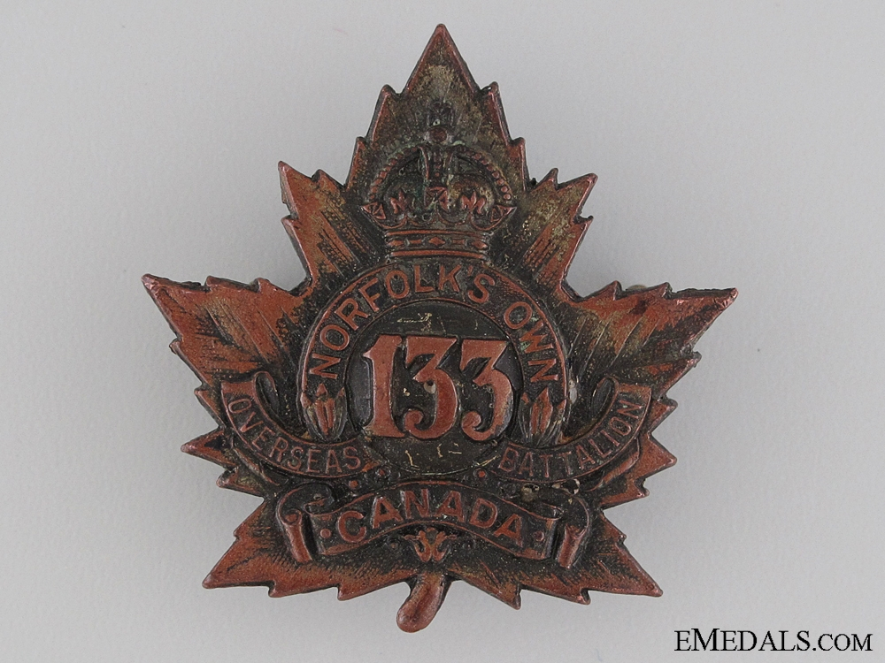 eMedals-WWI 133rd Infantry Battalion Norfolk's Own Cap Badge CEF