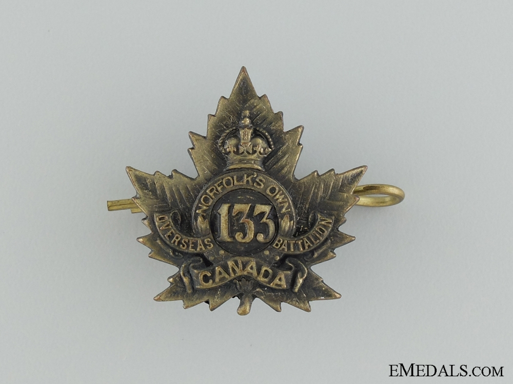 eMedals-WWI 133rd Infantry Battalion Collar Badge CEF