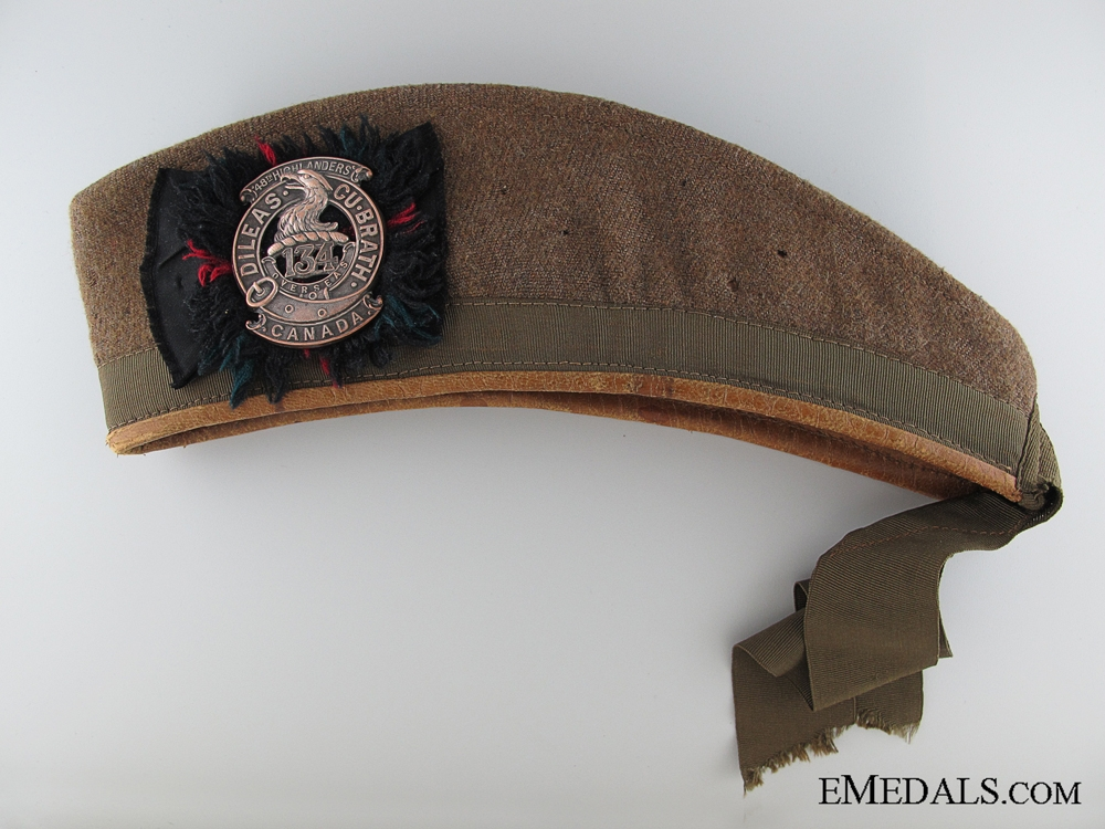 eMedals-WWI 134th Battalion Khaki Glengarry Cap 1918