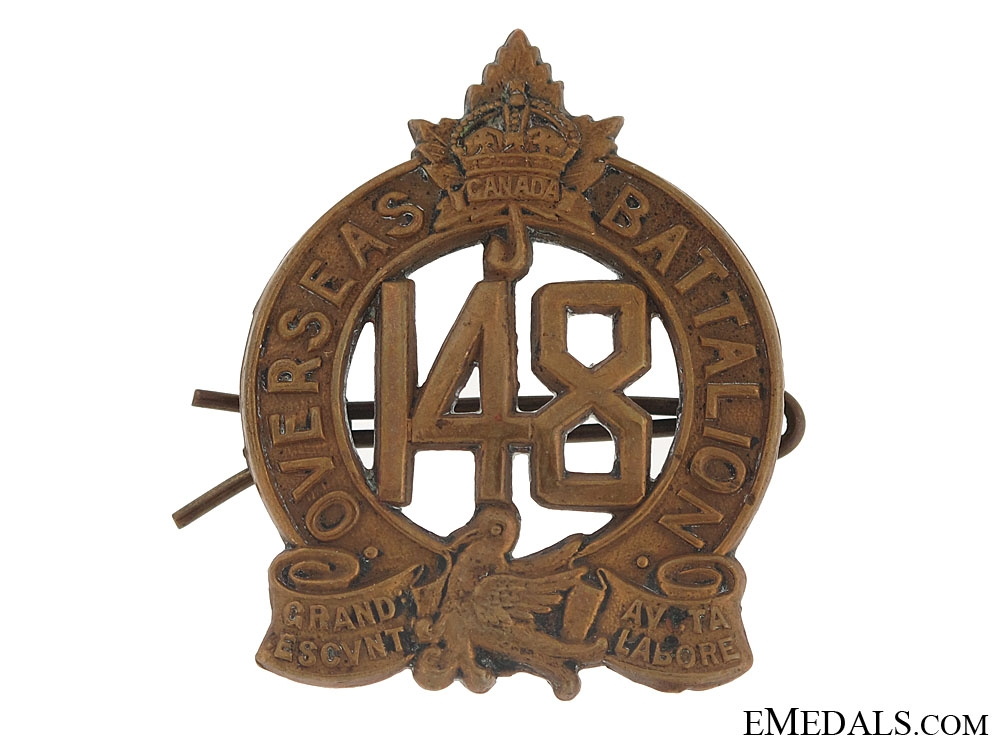 eMedals-WWI 148th Infantry Bn Cap Badge - CEF