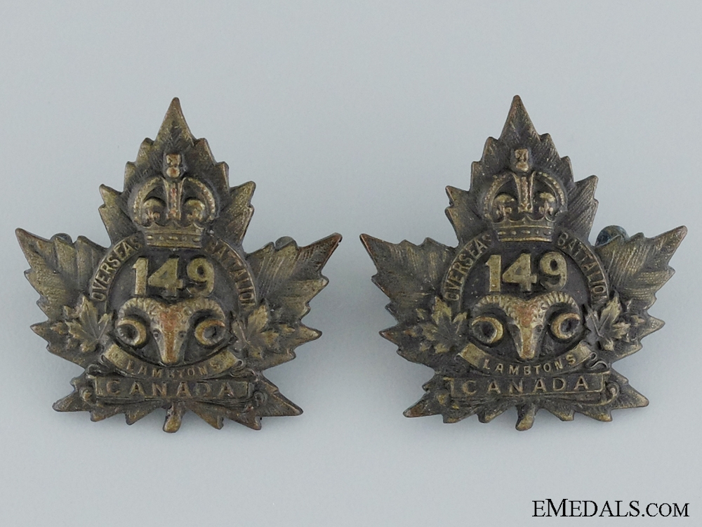 "eMedals-WWI 149th Infantry Battalion ""Lambton Battalion"" Collar Pair"