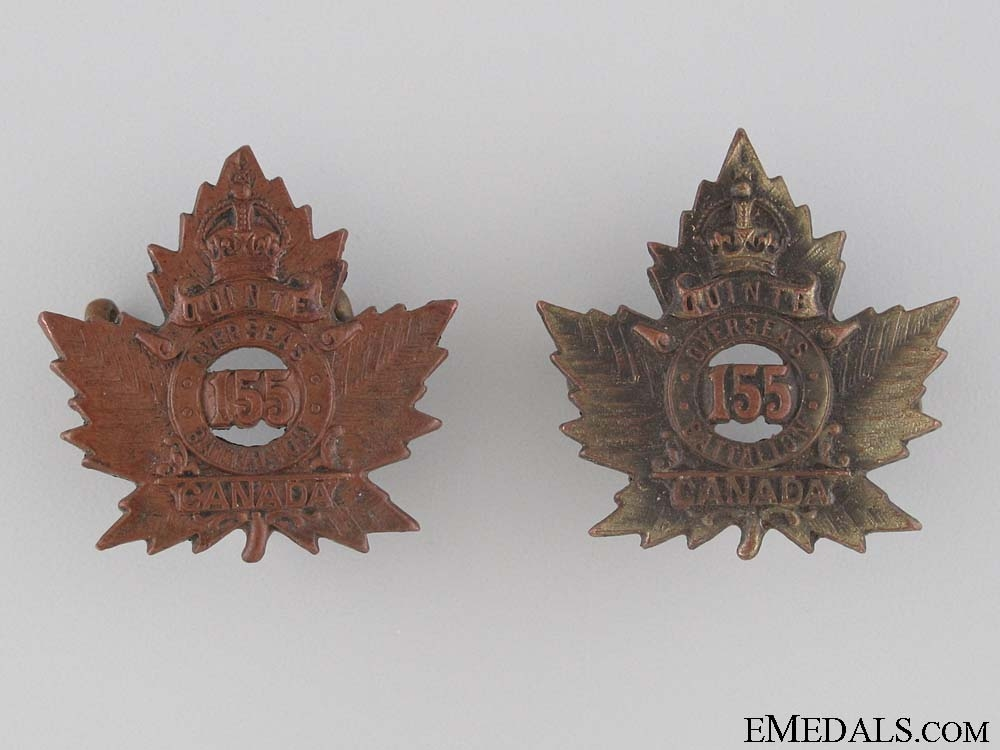 eMedals-WWI 155th Infantry Battalion Collar Tab Pair