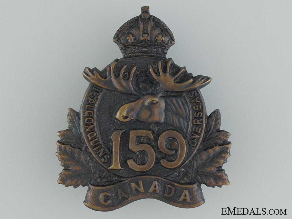 "eMedals-WWI 159th Infantry Battalion ""1st Algonquin"" Cap Badge"