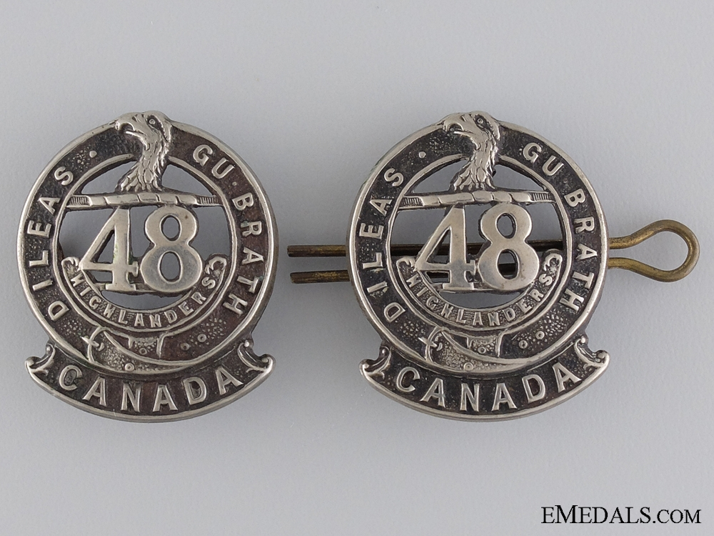 eMedals-WWI 15th Infantry Battalion Officer's Collar Badge Pair CEF