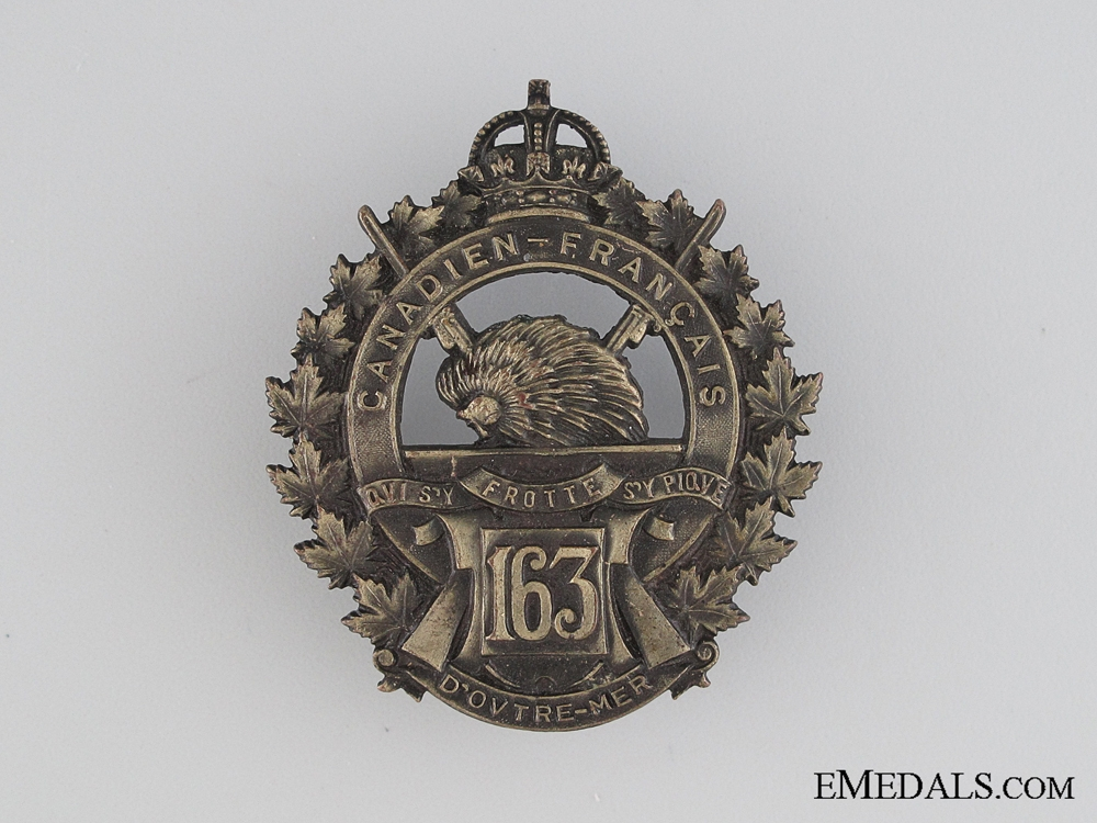 eMedals-WWI 163rd Infantry Battalion Cap Badge CEF