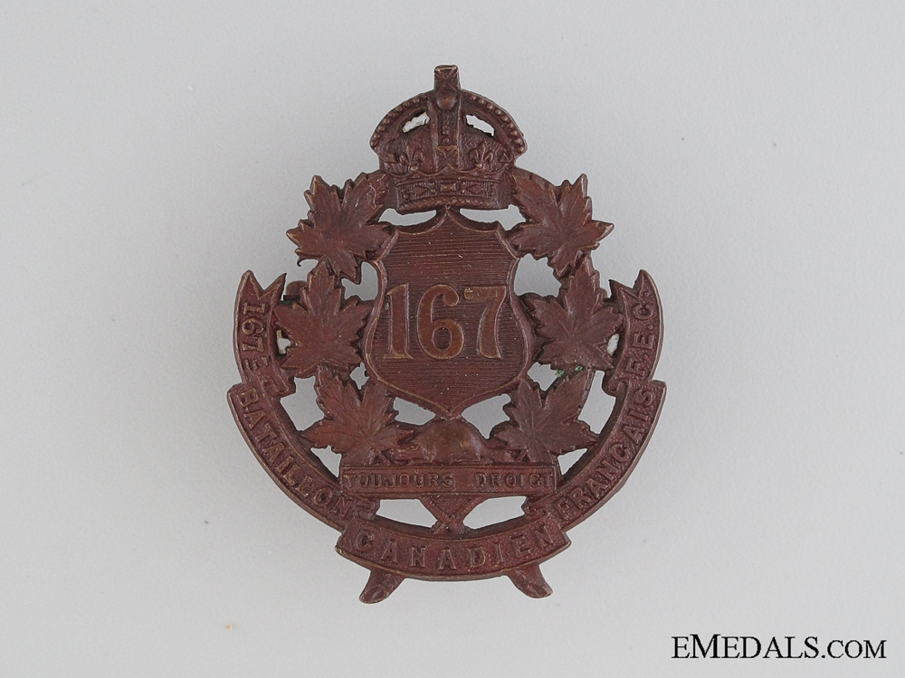 eMedals-WWI 167th Infantry Battalion Cap Badge CEF