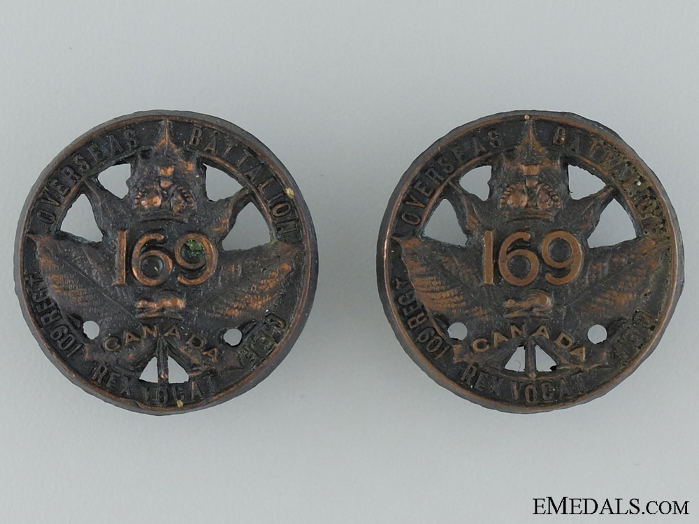 """eMedals-WWI 169th Infantry Battalion """"109th Regiment"""" Collar Pair"""