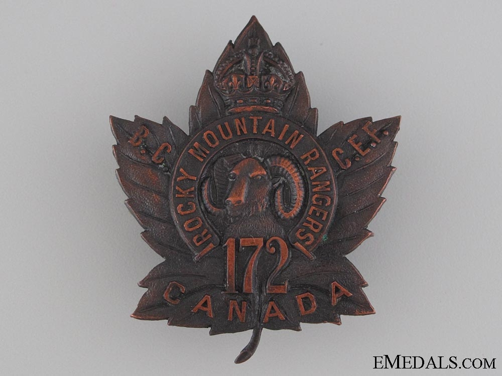 eMedals-WWI 172nd Infantry Battalion Cap Badge CEF
