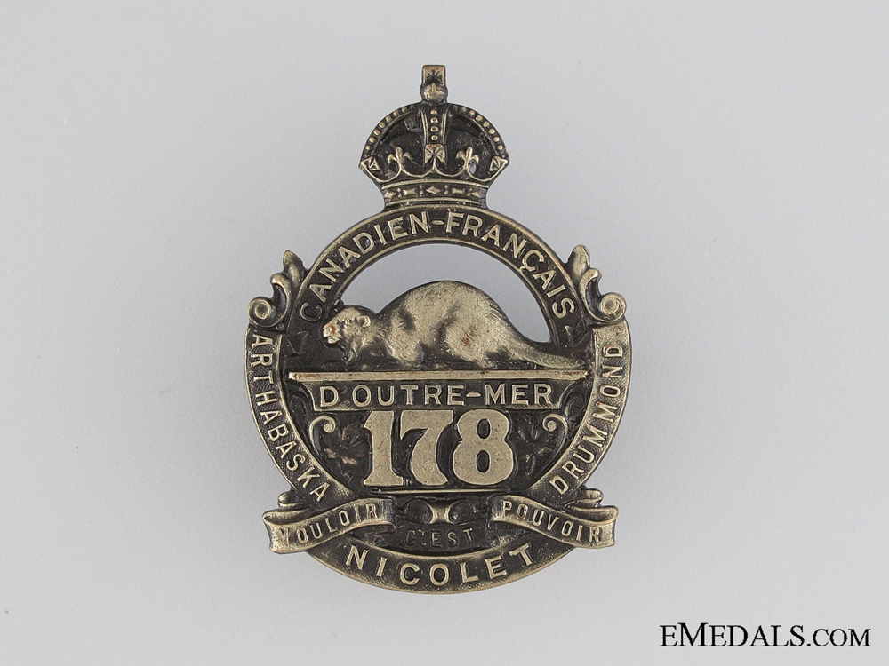 eMedals-WWI 178th Infantry Battalion Cap Badge CEF
