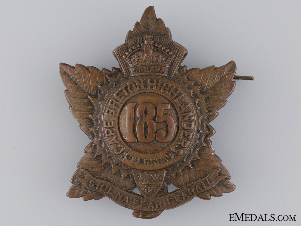 "eMedals-WWI 185th Infantry Battalion ""Cape Breton Highlanders"" Cap Badge"