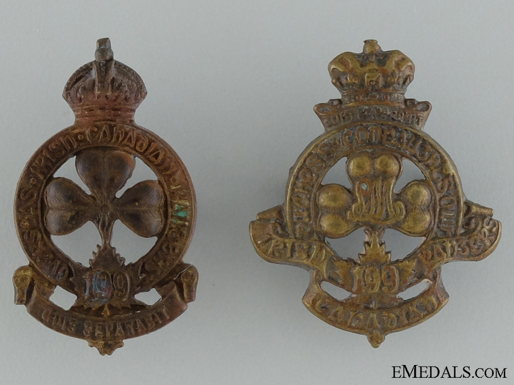 eMedals-WWI 199th Infantry Battalion Collar Badge Pair CEF