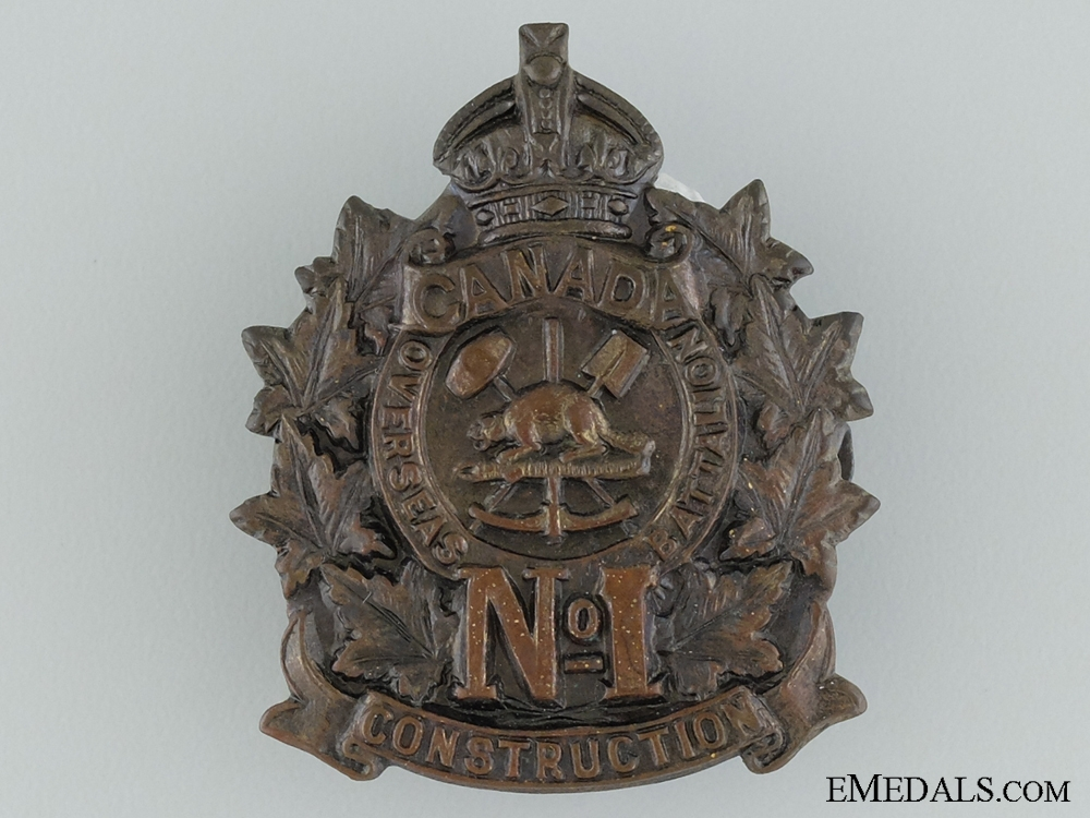eMedals-WWI 1st Canadian Overseas Railway Construction Corps Cap Badge