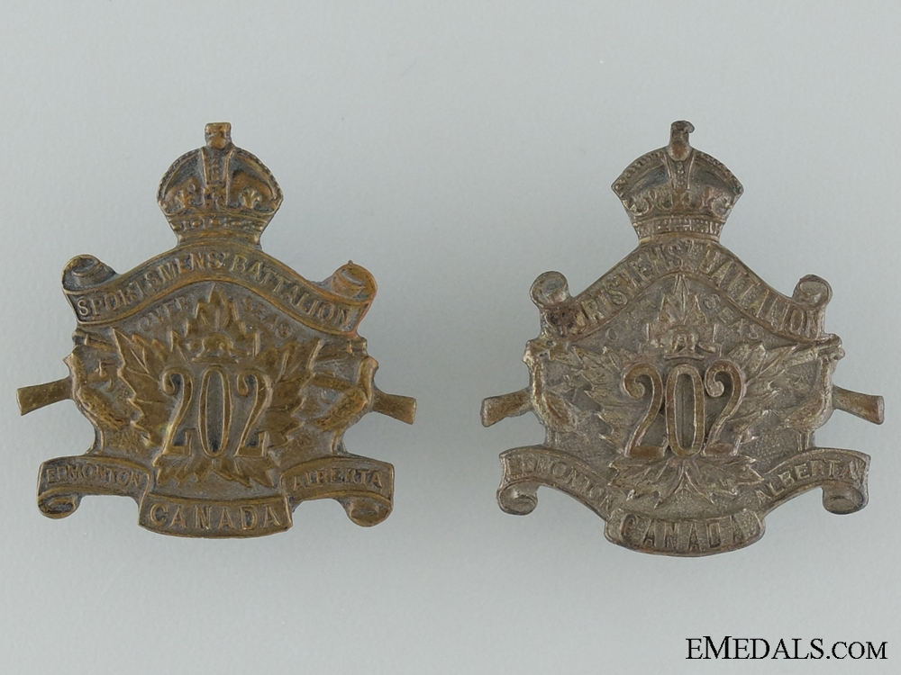 eMedals-WWI 202nd Infantry Battalion Collar Badge Pair CEF