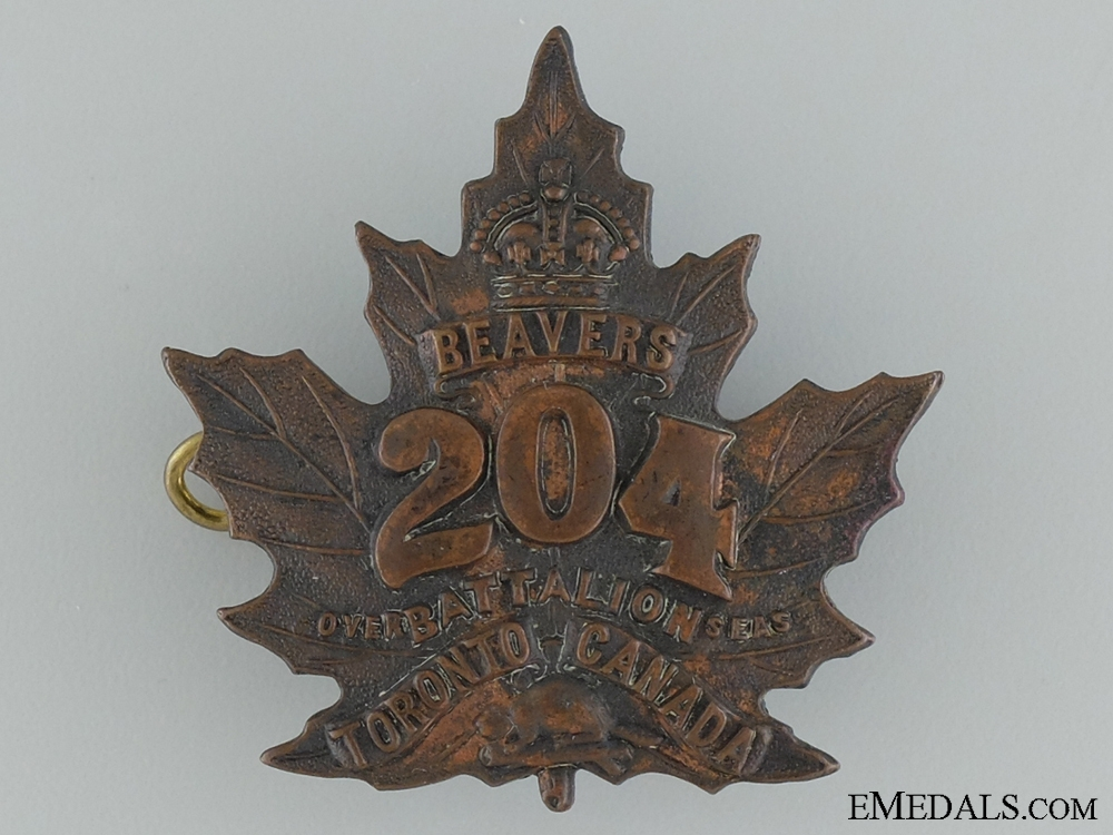 "eMedals-WWI 204th Infantry Battalion ""Toronto Beavers"" Cap Badge"