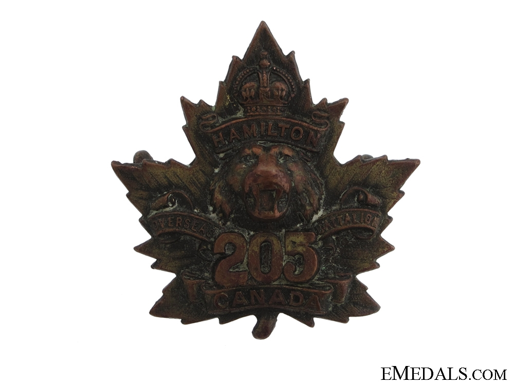 eMedals-WWI 205th Infantry Battalion Cap Badge CEF