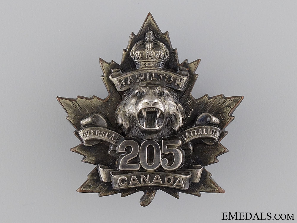 eMedals-WWI 205th Infantry Battalion Officer's Cap Badge CEF