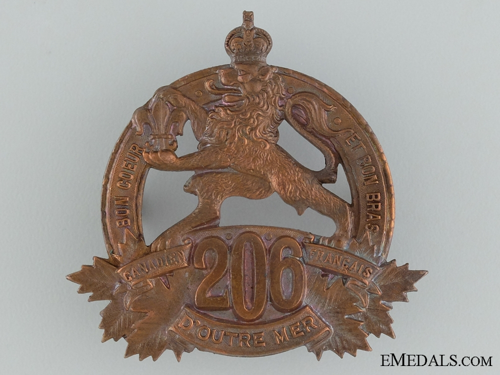 "eMedals-WWI 206th Infantry Battalion ""Canadiens Francais"" Cap Badge"