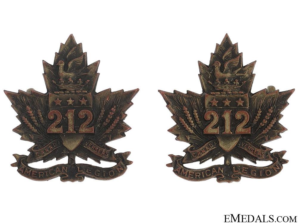 "eMedals-WWI 212th Battalion ""Winnipeg Americans"" Collar Tabs"