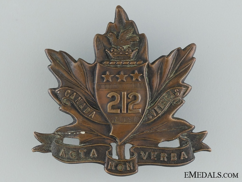 "eMedals-WWI 212th Infantry Battalion ""Winnipeg Americans"" Cap Badge"