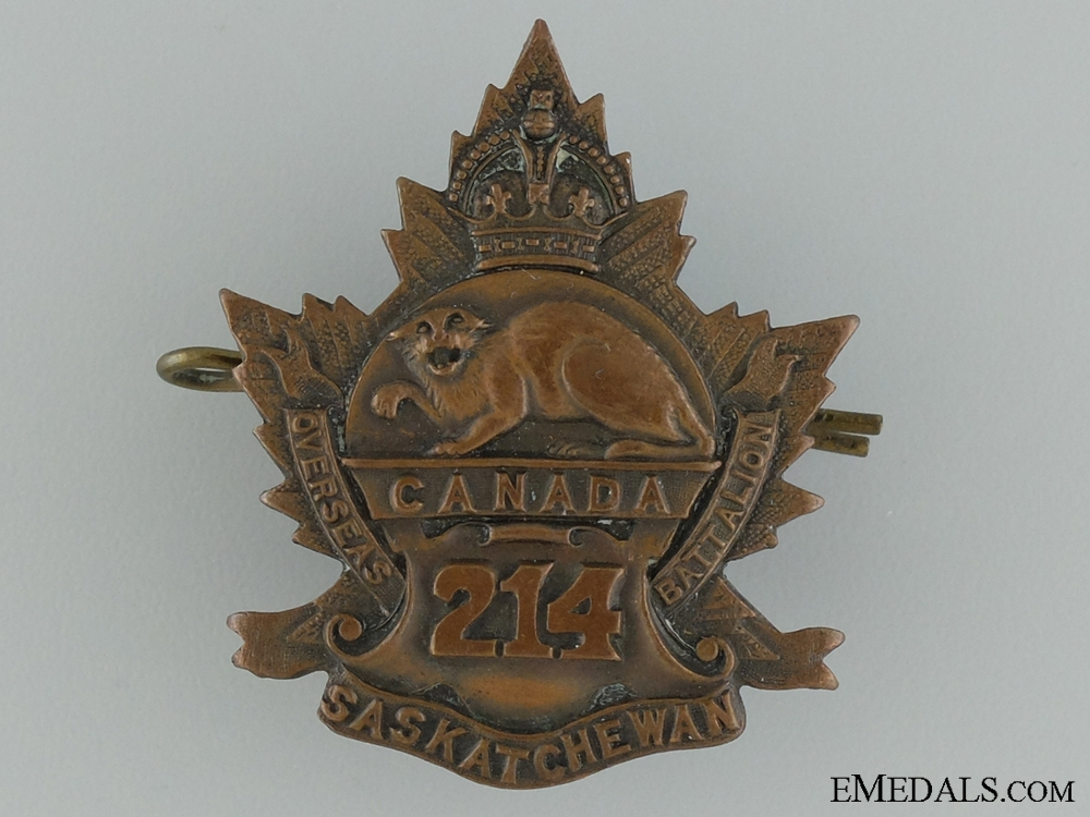 "eMedals-WWI 214th Infantry Battalion ""Saskatchewan Battalion"" Cap Badge"