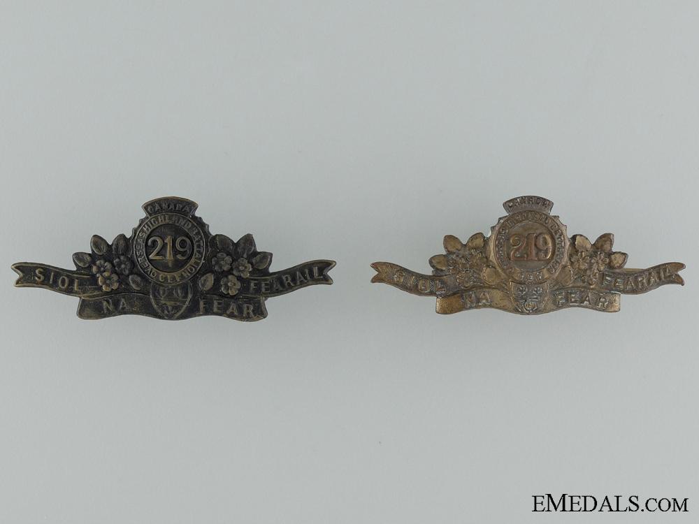 eMedals-WWI 219th Infantry Battalion Shoulder Collar Badge Pair
