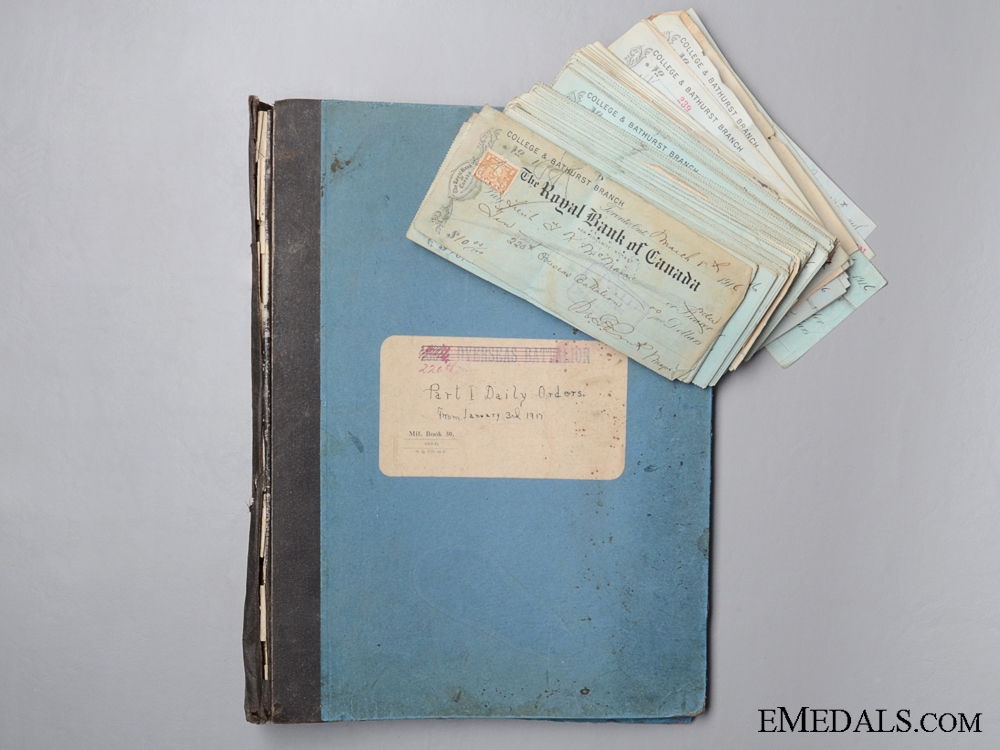 eMedals-WWI 220th Battalion Daily Orders Book and Cancelled Cheques