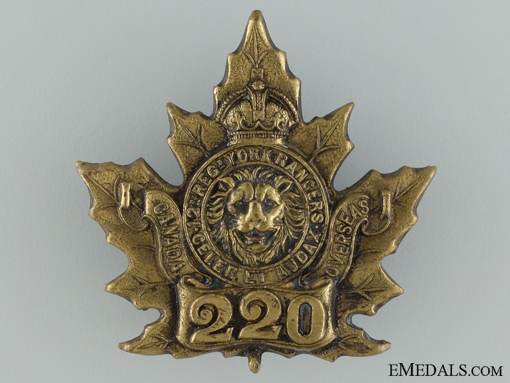 "eMedals-WWI 220th Infantry Battalion ""York Rangers"" Cap Badge"