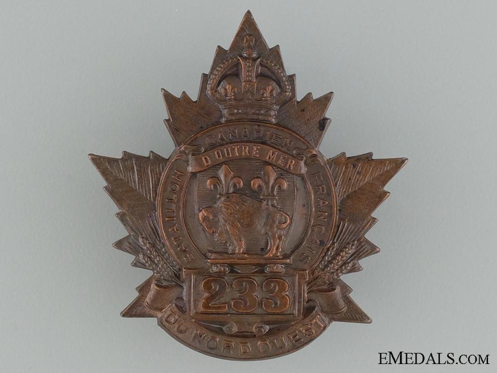 """eMedals-WWI 233rd Infantry Battalion """"Canadiens Francais"""" Cap Badge"""