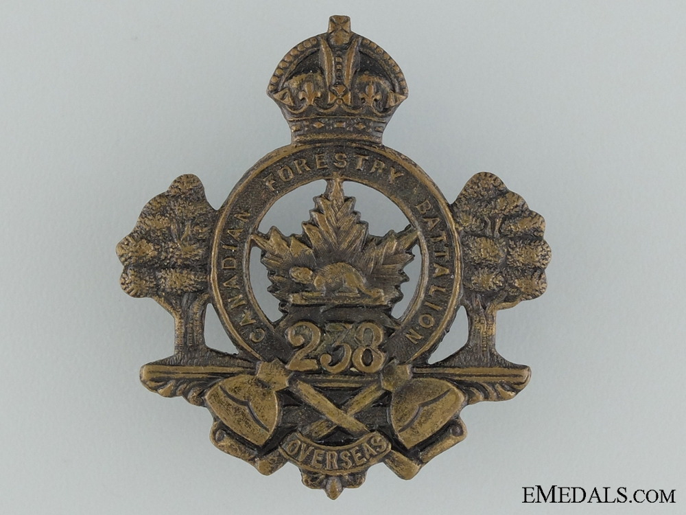 """eMedals-WWI 238th Infantry Battalion """"Canadian Forestry Battalion"""" Cap Badge"""
