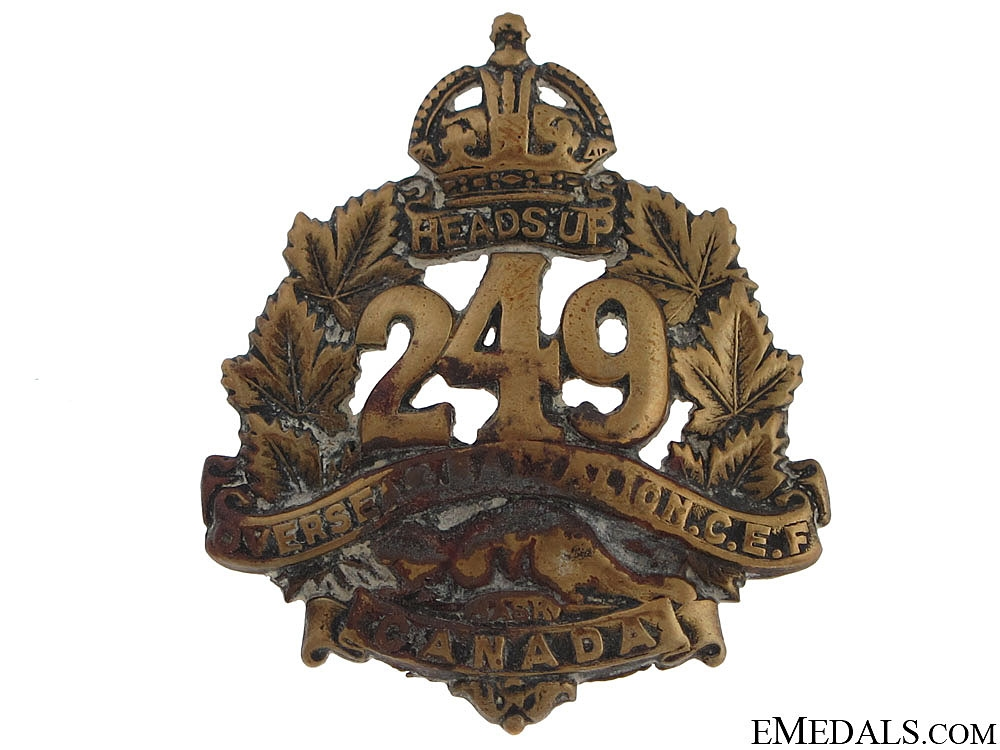 eMedals-WWI 249th Infantry Battalion Cap Badge CEF