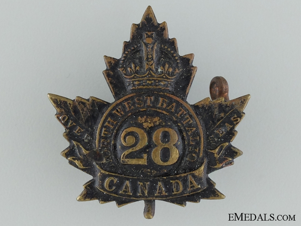 eMedals-WWI 28th Infantry Battalion Collar Badge CEF