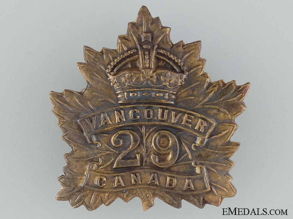 eMedals-WWI 29th Infantry Battalion Cap Badge CEF