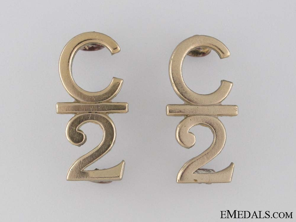 eMedals-WWI 2nd Infantry Battalion Collar Tab Pair CEF