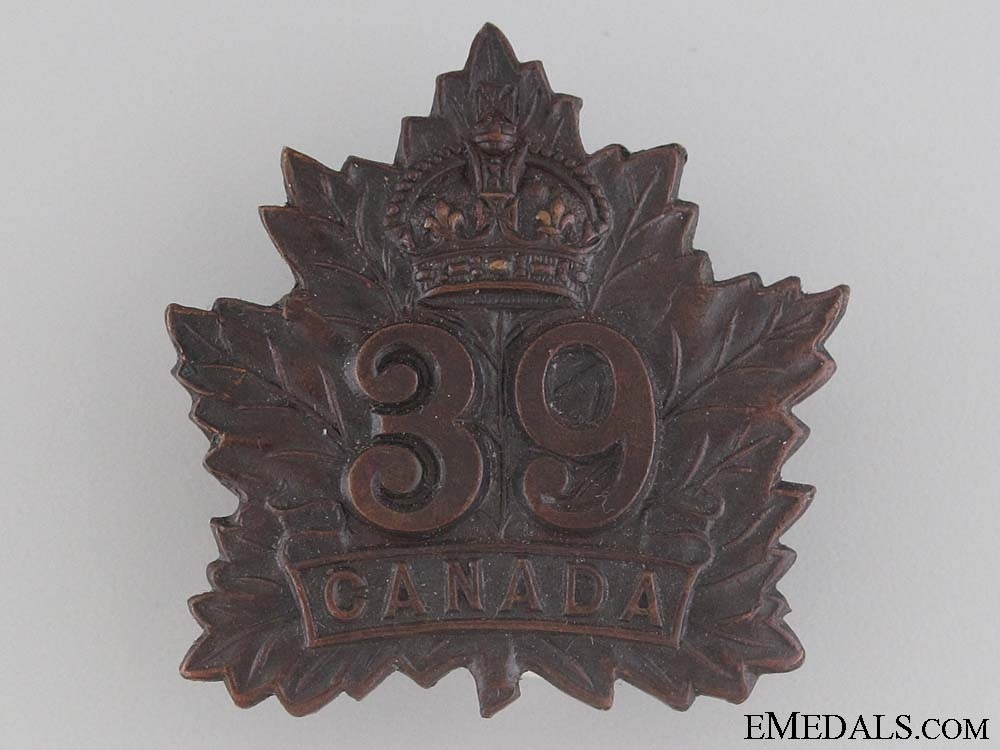 eMedals-WWI 39th Infantry Battalion Cap Badge CEF