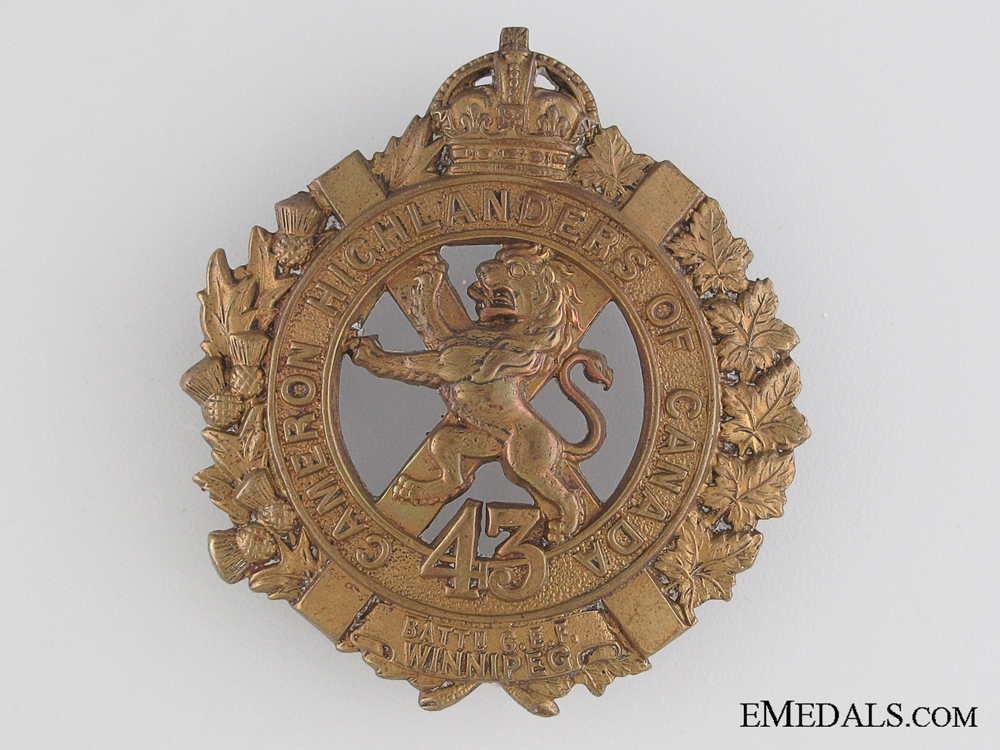 eMedals-WWI 43rd Infantry Battalion Cap Badge CEF