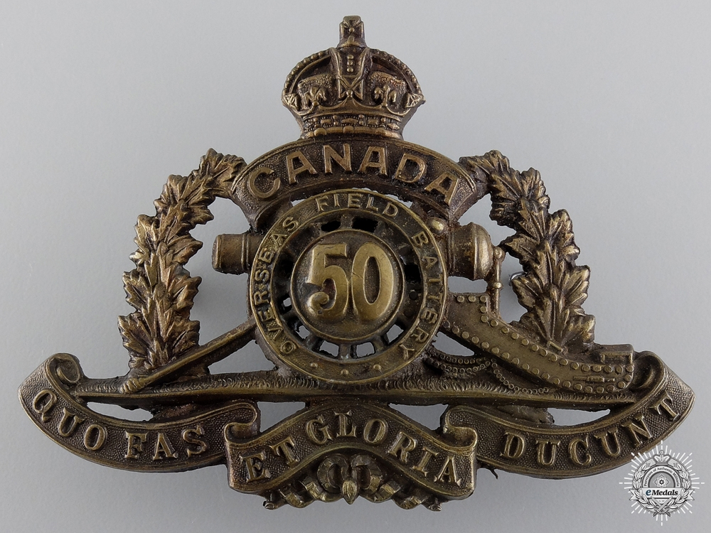 eMedals-WWI 50th Queen's University Overseas Field Battery Cap Badge