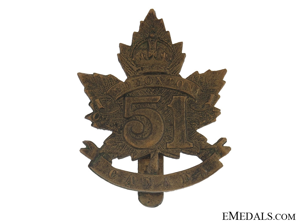 eMedals-WWI 51st Bn Edmonton Regiment Cap Badge - CEF