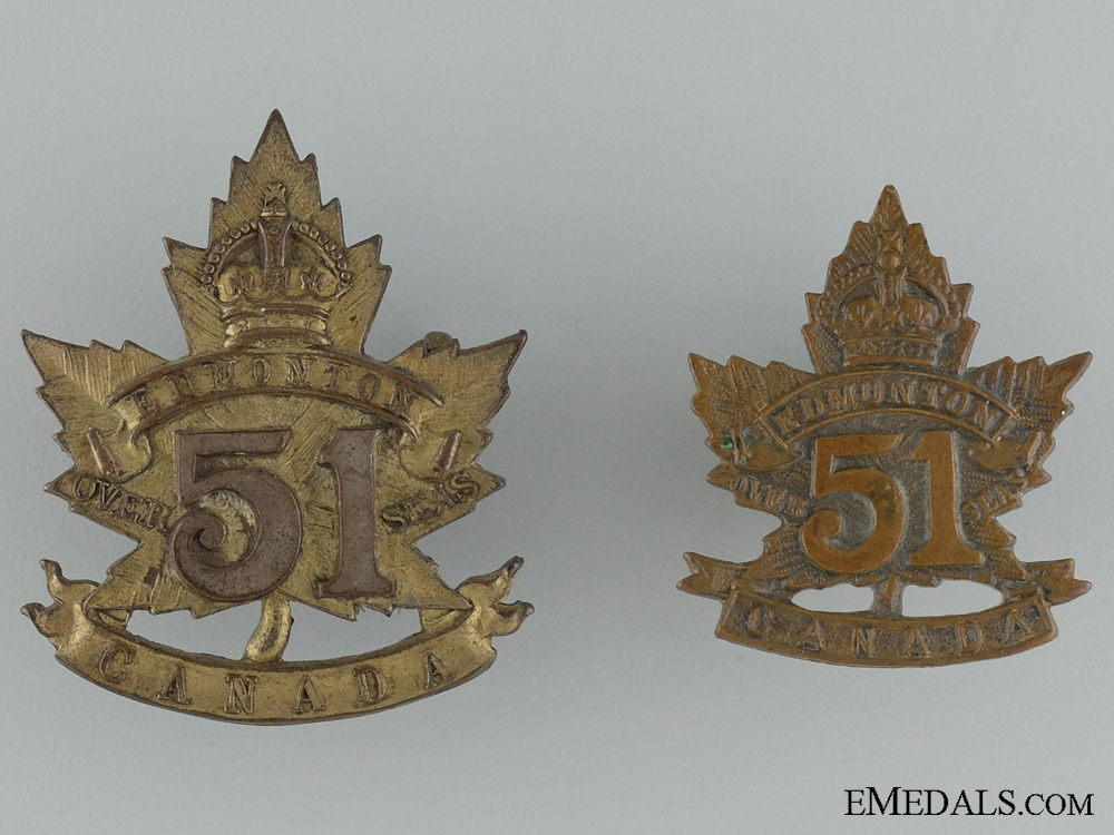 eMedals-WWI 51st Infantry Battalion Cap Badge and Collar Tab