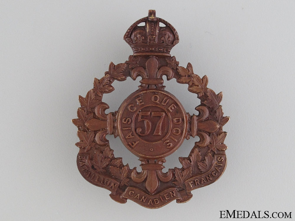 eMedals-WWI 57th Infantry Battalion Cap Badge CEF