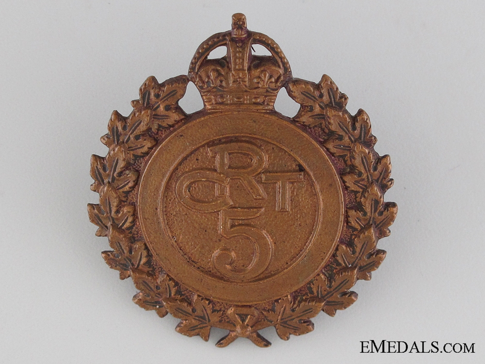 eMedals-WWI 5th Canadian Railway Troops Cap Badge CEF