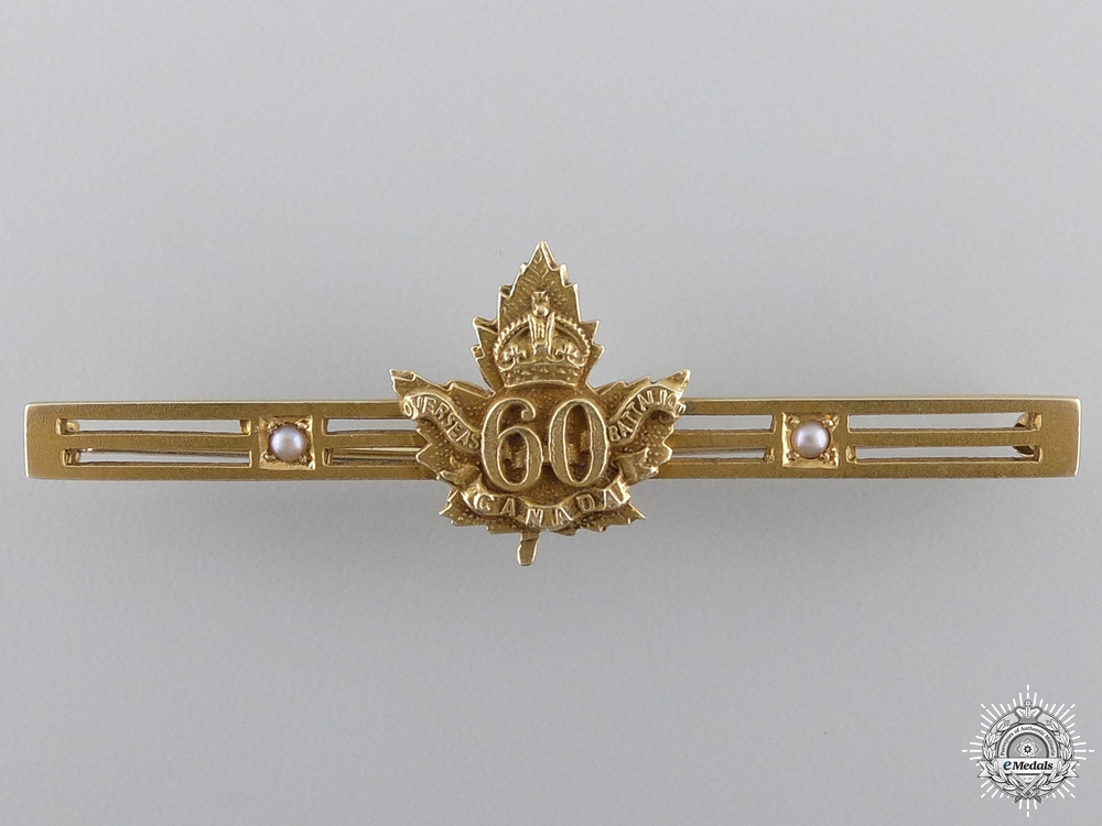 """eMedals-WWI 60th Infantry Battalion """"Victoria Rifles of Canada"""" Gold Badge"""