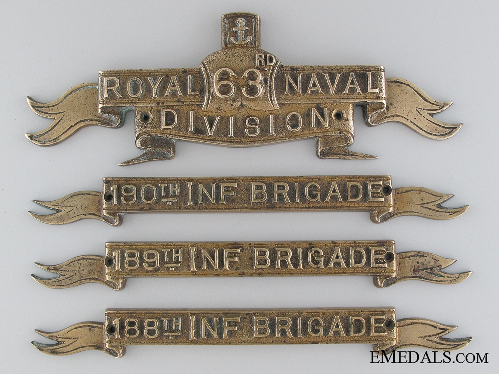 eMedals-WWI 63rd (Royal Naval) Division and Three Infantry Brigade Brass Plaques