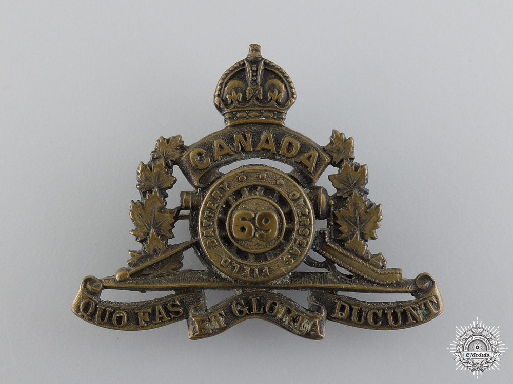 eMedals-WWI 69th Overseas Field Battery Collar Badge; 2nd Pattern